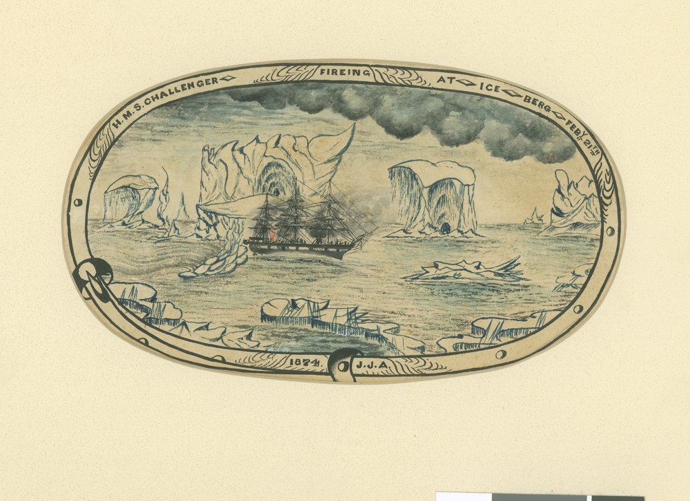 H.M.S. Challenger firing at the ice berg, February 21, Drawing by John Arthur
