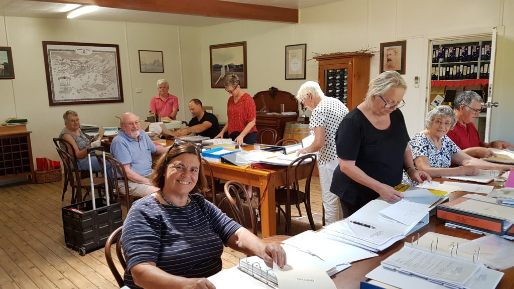 Participents in the working bee held in February 2019. L to R - Cate Rogers, Gregan McMahon, Lesley Abrahams, Brett Harvey, Leigh & Juliette Hart, Margaret McMahon, Geoff & Joy Hungerford and Pauline Tyrrell