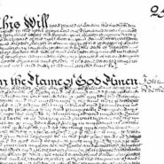 A clip of the will of John Becher